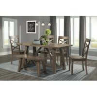 With everything you need for your next family gathering or dinner party, this set includes one table, four chairs, and one bench. Made from solid and manufactured wood with a warm walnut finish, the table - measuring 30'' W x 64'' L x 30'' H - comfortably seats up to six guests. The matching bench measures 18'' H x 38'' W x 15'' D . Four dining chairs with open backs and a slightly curved silhouette offer the rustic charm of the modern farmhouse-inspired decor.