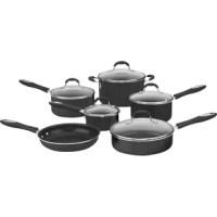 Prepare virtually anything with the cookware set. An elegant metallic exterior that complements any kitchen décor lets cooks simmer, sauté, fry, boil and braise in style. The pure aluminum core provides quick and even heat while the premium nonstick surface provides lasting food release and easy cleanup. Fantastic results with dishwasher safe convenience.