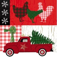 After the tree is up and the roast is in the oven, prime your guests for a classic farmhouse Christmas with this set of 20 napkins! Made from paper, each depicts the staples of a down-home holiday event – a bright red truck loaded up with a Christmas tree, snowflake decals, and, of course, three rooster silhouettes. With festive patterning throughout, these napkins are a perfect match for your holly jolly decorations.