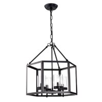 Originally made to encase the light of a flickering flame, lanterns were first designed for function, not fashion. Today, they incorporate both. Take this one for example: Suspended by an adjustable chain, this piece features a metal cage design that measures 18 in W x 20 in H, making a bold statement in your decor. Four glass cylinders diffuse light from any E12-base bulbs up to 60 W (not included), perfect for highlighting your space in style.