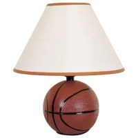 This table lamp's design is a real winner for basketball lovers everywhere. Made with a ceramic base, it's topped with a tapered shade featuring coordinating trim.
