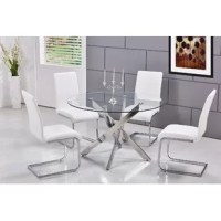 Whether you're hosting a dinner party with close friends or enjoying an everyday meal with the family, this dining set is a must-have for your home. Crafted from metal, the dining table showcases slanted legs awash in a polished chrome coloring and supports the circular, clear glass tabletop. Four matching chairs sports a C-shaped base for a touch of contemporary style, while the waterfall seats and solid backs boast faux leather upholstery.