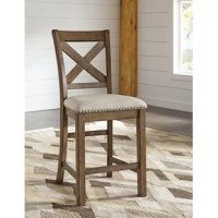 Bring modern farmhouse style to your dining space or kitchen island with this bar stool! Crafted of solid and manufactured wood with rustic veneers in a distressed nutmeg finish, this barstool features a cross back backrest, a box seat, and four chunky legs complete with structural stretchers and a built-in footrest. Enveloped in polyester upholstery, the seat is cushioned with padding for added comfort and support.