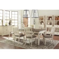 Classic style and countryside character meet in this 7-piece dining set. Including a dining table and six side chairs with mission-style back, this set is defined by its s. Crafted from solid acacia and oak wood, each piece sports an airy antique white finish that blends easily with most color palettes. A brown finish outfits the planked tabletop for a touch of warmth, while gray-brown polyester-blend upholstery cushions the seats for a cohesive look. Plus, thanks to the handy drawers built...