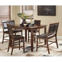 Create a compelling and cohesive aesthetic in your arrangement with this five-piece dining set – which includes one table, two chairs, and two benches (all sitting at counter height). Crafted  from birch veneers and solid wood, the table features tapered legs and measures 48'' L x 48'' W x 36'' H. Designed to seat six, each chair and bench boasts an upholstered construction for an inviting feel, while neutral tones allow this set to blend easily with your color scheme.