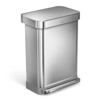 The 45 Liter (12 Gallon) Rectangular Step Steel Trash Can with Liner Pocket features an innovative liner pocket that stores and dispenses liners from inside the can for a faster liner change. The stainless steel liner rim grips the liner and keeps it hidden. And with no inner bucket, there's more space for trash. Strong wide steel pedal is designed to last, and our patented lid Shox technology ensures a smooth, silent close every time.
