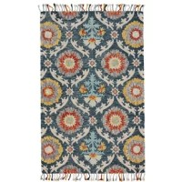 Offer up a bold touch of the pattern for your well-curated and welcoming entertainment space or seating group with this eye-catching Fleurette Hand-Tufted Wool Blue Area Rug, the perfect piece for eclectic and understated aesthetics alike. Featuring a bold floral Damask motif awash in earthy, multicolored tones, this piece brings a bit of striking style to your look, while its handmade, tufted wool design and tassel details bring a bit of comfort and character to the piece. Add it to a hardwood...