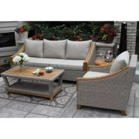 This Teak & Wicker 3pc Sofa Set is loaded with tons of teak wood and draped in wicker! The 3pc Sofa Set is crafted from the highest quality materials starting with all-Natural Plantation Grown Brazilian FSC Teak wood for long-lasting outdoor use and durability in all climates. The ash gray all-weather wicker armchairs, sofa, and coffee table are all hand-woven around durable powder-coated aluminum frames for lasting durability. Sunbrella branded fabrics and stainless steel hardware complete...