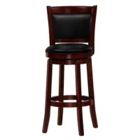 Add a touch of Chandler style to your kitchen with this counter-height stool. This dining room furniture is constructed of solid wood and features a 360° swivel seat. This counter stool offers a comfortable backrest and a full-ring footrest. Elegantly designed, the stool boasts, faux bicast leather covers and tapered bottom French legs. The seat is made of high-density foam padding that is comfortable and plush. This stool fits under most counters perfectly.