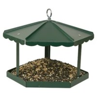Homestead's Fly-Thru Gazebo Tray Bird Feeder is a traditional feeder designed to look great in any yard and feed any bird! The feeder can be hung, post mounted, or pole mounted and includes hardware for each option.