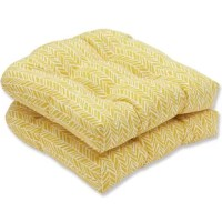 Bold and sunny buttery yellow gives any outdoor space a cheerful feeling, no matter where you use this pair of wicker seat cushions. The richly textured fabric brings out a playful look in the varied herringbone pattern that will pair perfectly with any garden setting.