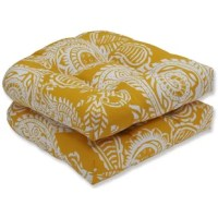 Crisp white paisley patterns swirl across buttery yellow fabric which gives this pair of wicker seat cushions a lively feeling, perfect for any space in or out of your home. These charming cushions will give your poolside a festive look and adds a polished feeling to your decor.