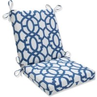 Add a pop of personality to your patio ensemble with this vibrant indoor/outdoor chair cushion! Made in the USA from weather-resistant polyester fabric, this dapper design sports a gorgeous interlocking trellis motif in rich inky blue and crisp white hues. The tailored, rectangular design features one easy-fold crease, cushy foam fill, and attached fabric ties to easily affix the cushion to your favorite outdoor dining chair. Spill your drink while sitting? Sunscreen bottle overflow? Life...