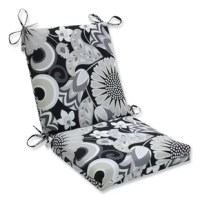 Get a breath of fresh air with this elegantly simple floral pattern worked in soothing grays and pale taupe, set against a rich ebony background. This refined square cornered outdoor chair cushion has a sharp design and pairs perfectly with a bold flower garden or equally stark outdoor decor. Additional features of this outdoor chair cushion include matching ties to secure the cushion to your furniture, recycled polyester fiber and a sewn seam closure. Also suitable for indoor use.