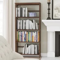 An updated classic, this bookcase showcases a clean-lined silhouette with slatted sides and an open back for an airy and approachable look. Crafted from solid pinewood, it sports a neutral finish that blends easily with a variety of color palettes and aesthetics. Five shelves provide a place to display your favorite books, framed photos, artful accents, and beyond, so this piece is perfect for putting a personal touch into your space. Assembly is required.