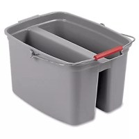 This mop bucket is part of an easy-to-use cleaning system. The two tall compartments separate the cleaning solution and rinse water. You can simply dunk your mop head into the plastic bucket. The volume capacity is 19 quarts.