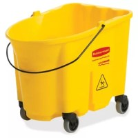 This bucket is part of the Rubbermaid WaveBrake mop bucket system that reduces splashing for a safer environment, cleaner floors and improved productivity. High capacity is made for the largest commercial cleaning jobs. Bucket is made of premium tubular steel and structural web molded plastic. Foot-pedal water evacuation is conveniently located, with no lifting required, for worker well-being.
