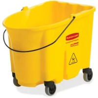 This product is part of the WaveBrake 35 Qt. Mop Bucket and wringer system that reduces splashing for a safer environment, cleaner floors and improved productivity. High capacity is made for the largest commercial cleaning jobs. The bucket is made of premium tubular steel and structural web molded plastic. Foot-pedal water evacuation is conveniently located, with no lifting required, for worker well-being. The dirty water bucket is sold separately.