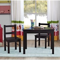 Whether chowing down on an afternoon snack or working on the next great piece of refrigerator art, this three-piece table and chair set is a must-have for your little one. Crafted from manufactured wood, each piece boasts a crisp finish and fits in with nearly any design aesthetic. Providing a platform for playtime, the rectangular table measures 18.11' ' H x 23.62' ' L x 18.9' ' W while the two chairs each come in at 20.63' ' H x 11' ' W x 11.8' ' D.