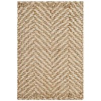 Pairing a breezy woven design with an on-trend chevron pattern, this versatile area rug sets an airy and understated foundation in any arrangement in your home. Thanks to a neutral ivory and natural color palette, it's sure to easily blend with your existing ensemble. Hand-woven in India from 100% jute with a low 0.5