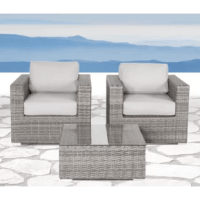 This essential 3-piece wicker furniture set comes fully assembled with everything you need to make the most of your porch or patio – all you need to do is kick back and relax. Two deep seating armchairs are handcrafted from resin wicker that stands up to all kinds of weather, with breezy natural color variations for a comfortable, lived-in feel. Plush foam-filled cushions top it off with an ergonomic design and removable covers that make washing easy. It all comes backed by a one-year...
