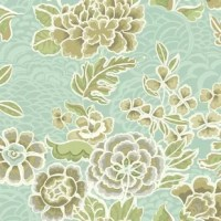 In a waverly world whimsical flowers grow to great proportions and bloom in fantastic colors, like this example. Imaginative blossoms and leaves are layered on a field with a subdued tonal pattern and a satin finish.