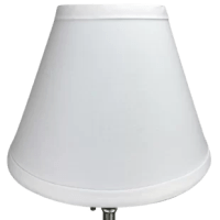 This Linen Empire Lamp Shade is equipped with a bulb-clip attachment.  The bulb-clip, clips onto the bulb. The trim is the same color as the covering.