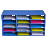 Keep your classroom or office clean and organized with this Office Classroom File Organizer. The compact organizer and folder slot storage system includes 15 open slots. This provides enough room to easily slide a stack of papers, magazines, notebooks, or slim binder into each slot without taking up too much space. The sturdy cabinet is made from recycled material and is built to last with a durable design and strong shelves that can easily carry the weight. Plus, you can assign slots by Name...