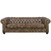 The Caine Sofa is traditional in design and a staple that never goes out of style. This sofa features button tufting along the back and arms, as well as along the front base. The nailhead trim adds the finishing touch to this piece.
