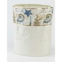 Wrapped with a beautifully detailed seascape with gold border top and bottom and embossed with sea creatures, the Antigua Trash Can adds a touch of the sea to any bath décor.