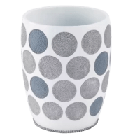 Beautifully executed in gray and blue with metallic accents on a white base in durable resin, this Dotted Circles Resin Trash Can add a contemporary flair to any bathroom, bedroom, kitchen or office.