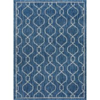 Whether you're setting the anchor for your well-curated and welcoming entertainment space or adding a durable platform underfoot in the sunroom, this striking area rug is sure to draw the eye in any abode. Featuring a bold geometric trellis motif awash in a cool indigo palette, this rug sets the perfect anchor for earthy wood tables and light linen upholstery, while its power-loomed polypropylene design makes it a natural stain- and water-resistant addition to spaces inside and out. Set it...