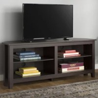 A must-have for living areas and entertainment spaces, this corner TV stand sets the stage for the big game, a movie marathon, or that season finale everyone's been talking about. Crafted from manufactured wood, it boasts a neutral finish for a look that won't easily clash with your current color palette. Plus, it includes four shelves for keeping media players, cable boxes, books, movies, and more.