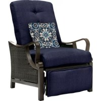 Defined by its woven-wicker frame and extra-thick cushions, this weather-resistant recliner chair instantly elevates your favorite outdoor seating space. Its tufted details add a refined touch to your decor, while its scrolling arms add visual appeal to any space.  Lean into this piece's versatility by adding it to a traditional living room ensemble alongside a streamlined foam-filled loveseat and matching Adirondack chairs for a cozy and cohesive seating space, then roll out a...