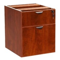 The 3/4 pedestal features a file and box drawer. It can be used with any of the series desk shells Finished in Cherry and Mahogany laminate.