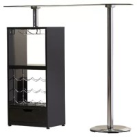 Pub tables are perfect for bar areas, or dining areas short on square footage. Take this versatile table for example, it's part bar and part table – doing double duty and blending well in modern and contemporary aesthetics. The base of this piece is crafted from metal in a chrome finish, solid wood veneers in the open cabinet, and a frosted glass tabletop, and features a wine rack with a 12 bottle capacity, a stemware holder with a six-glass capacity, and a drawer. This pub table...