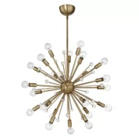 Defined by its sputnik-inspired silhouette, this 24-light sputnik sphere chandelier illuminates your room in contemporary style. Crafted from metal in a polished finish, this piece showcases multiple rods that extend from a small metal sphere in the middle of the fixture in every direction like a starburst. A sleek adjustable downrod and rounded canopy give it a streamlined look and feel. Diffusing light from 24 candelabra-style bulbs (not included), it makes a great addition to your space.