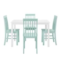 Take your kitchen or dining area to the next level with our modern style dining set. Including four slatted back chairs with slightly curved angles throughout, in a bright-colored finish. The table features a classic, straight-line design with a painted, fresh white finish for a simple, yet an elegant table. Enjoy meals with your family, with this stylish dining set.