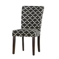 A traditional Parsons silhouette gets an eye-catching update with this dining chair. Founded atop four rubberwood legs in a neutral espresso finish, this piece is crafted with a wooden frame, foam fill, and polyester-blend upholstery for an approachable look. A two-toned geometric trellis motif outfits this design for a pop of pattern. This chair arrives in a set of two.