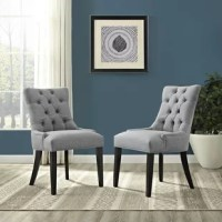 Sophisticated and classic, these chic side chairs are the perfect addition to an elegant dining room or a relaxed breakfast nook. Crafted with a solid rubberwood frame, this pair showcases black-finished legs and solid-hued polyester upholstery, a versatile design that blends easily into an existing arrangement. Their nailhead trim and button-tufted details bring a touch of glamour to your space, while their non-marking foot caps help to protect your floors as you tuck them in and move them...