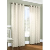 Featuring a traditional Damask lace layover, this pair of curtain panels bring a touch of classic character to any arrangement as it provides privacy. Made from 100% polyester, these pieces have white polyester liners to help filter out natural light to darken your room, so they're an ideal option for a bedroom ensemble or living room layout. Plus, they're safe to toss in the washing machine for easy upkeep. A grommeted header makes the hanging process a breeze.
