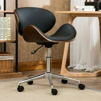 Give your workspace a sleek and stylish refresh with this on-trend office chair. A great option for adding a touch of mid-century style in a contemporary aesthetic, it showcases a curved seat and back crafted from rounded wood pieces and solid-toned faux leather upholstery. And since it features an adjustable height, it can be easily tailored to suit your desk height! The chromed base is supported by five caster feet, so rolling over to your file cabinet and back is a breeze.