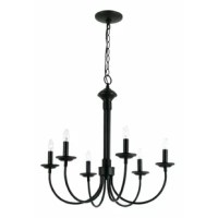 Doubling as a source of light and the focal point in any room, chandeliers are experts at fusing function with fashion. Take this one for example: Crafted from metal, it features an open tubular construction, putting a contemporary twist on a traditional design. Six curving arms each support one candelabra-base bulb up to 60 W (not included), ideal for highlighting your space in an eye-catching style. Plus, a neutral hue allows it to blend effortlessly with your color scheme.