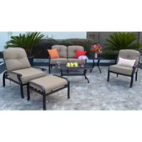 The outdoor furniture collection boasts a timeless design that is elegant yet comfortable and durable. This 6 Piece Sunbrella Sofa Set with Cushions is made with high quality cast aluminum with five stage powder coated antique bronze finish. Guarantee 100% rust free! It will last for many years of family summertime fun and endless outdoor entertainment occasions!