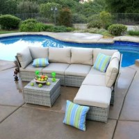 All patio furniture should be as comfortable and as functional as the furniture in your home. After all, your patio is an extension of your home. This 7 Piece Rattan Sectional Set with Cushions gives you the opportunity to turn your patio into the extra living space you've been looking for. This spectacular deep seating group has a sturdy powder coated steel frame. The wicker comes in a beautiful cream gray color which allows it to blend nicely with the outdoors as well as any existing decor....