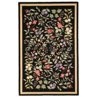 Showcasing a classic botanical motif of blooming pink flowers and hanging fruit in green and yellow hues, this black area rug sets an eye-catching foundation in any room in your home. Looped from 100% wool with a cotton backing, this design features a low 0.25