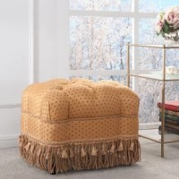 Lend your living room or den a touch of traditional Victorian charm with this alluring upholstered vanity stool. Made with a kiln-dried birch wood frame, this delightful design is draped in button-tufted, regal polka-dotted polyester blend upholstery in an amber-gold hue with rawhide-tinged accents, cushioned with foam fill, and adorned with a rope cinch and coiled yarn fringe. Pull this piece up to a polished mahogany vanity for a luxurious place to start your morning routine, or use it as an...