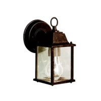 Greet guests with a warm and welcoming glow before you even reach the front door with this wall lantern. Designed to live outdoors, it is constructed from weather-resistant metal that doesn't mind sunlight shining down or rainstorms rolling through. Its traditional lantern design features a molded design finished in a distressed metallic tone while a single light inside is highlighted by clear glass panels. Measures 8.5'' H x 4.75'' W.