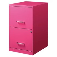 Practical storage solutions don't need to be drab! Give your office ensemble a refresh with this eye-catching file cabinet. Perfect for contemporary aesthetics, this steel design is available in two fun, bright colors that can liven up any look. The two letter drawers measure 10.75'' H x 12'' W x 16.75'' D each and are set on glide suspension with pull handles. They can also be locked for added safety.