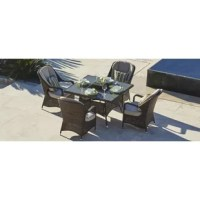 Indulge yourself and experience the ultimate in luxury and comfort whilst relaxing in your garden. This Canter 5 Piece Dining Set with Firepit and Cushion is new to the luxury outdoor furniture collection for 2017. It is extremely comfortable due to the extra padding on the base and back cushions. This high back chair is perfect for dining or lounging and is extremely comfortable due to the added lumbar support, enabling the curved chair back to gently wrap around your upper body. The benefits...